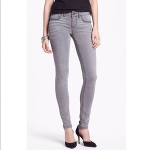 Free People Womens Grey Mid Rise Skinny Jeans Size 25